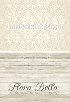 Ivory & Gray Damask/ Light Wood