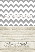 Gray Chevron Stripe/ Light Wood